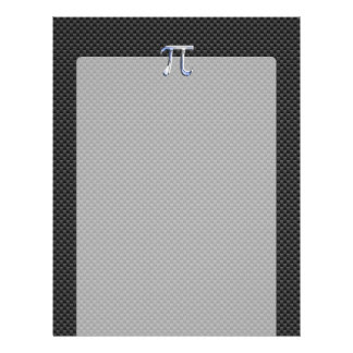 Silver Chrome Like Pi Symbol on Carbon Fiber Print Letterhead