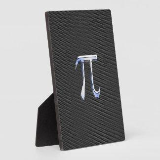 Silver Chrome Like Pi Symbol on Carbon Fiber Print Plaque
