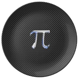 Silver Chrome Like Pi Symbol on Carbon Fiber Print Porcelain Plate