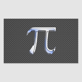 Silver Chrome Like Pi Symbol on Carbon Fiber Rectangular Sticker