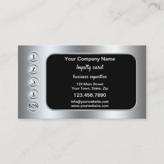 Silver Chrome Metallic Loyalty Punch Card