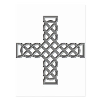 Silver Chrome Pagan Knot Cross Post Card