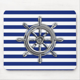Silver Chrome Wheel on Nautical Stripes Mouse Pad