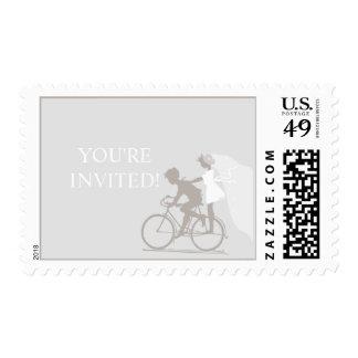 Silver Cloud Bicycle Couple Wedding Postage