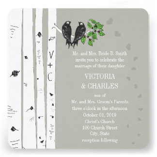 Silver Cloud Birch Vintage Birds Wedding Invite