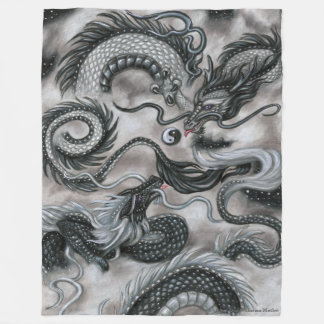 Silver Cloud Eastern Sky Dragon Fleece blanket