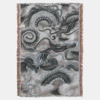 Silver Cloud Eastern Sky Dragons Throw Blanket