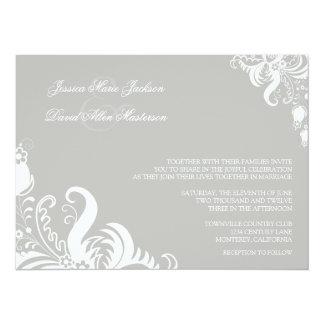 "Silver Cloud Floral Accent Wedding Invitation 5.5"" X 7.5"" Invitation Card"