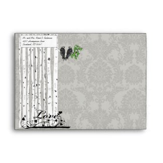 Silver Cloud Vintage Birds Damask Wedding Envelope envelope