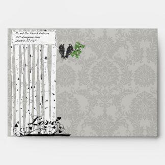 Silver Cloud Vintage Birds Damask Wedding Envelope