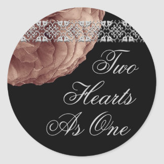 Silver & Cocoa  Rose & Lace - Two Hearts As One Classic Round Sticker