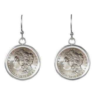 silver coin drop earrings