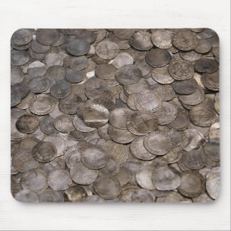 Silver coin hoard mouse pad