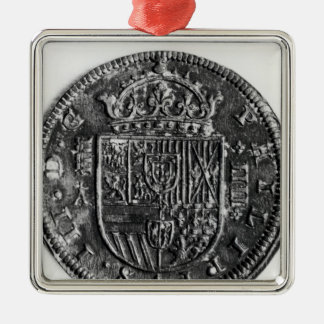 Silver coin metal ornament