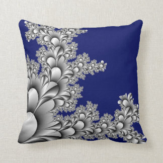 Silver Colored Fractal on Midnight Blue Background Throw Pillow