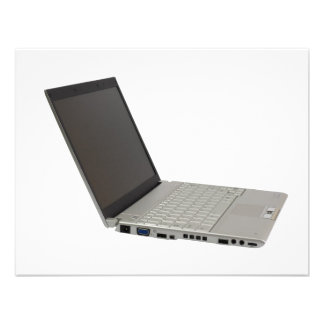 Silver colored laptop personalized announcement
