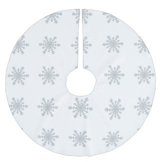 Silver Colored Snowflakes on Winter White Brushed Polyester Tree Skirt