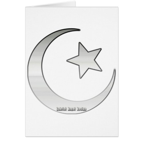 Silver Colored Star and Crescent Symbol