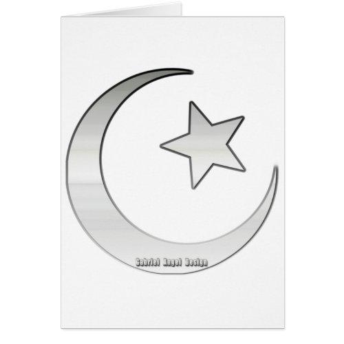 Silver Colored Star and Crescent Symbol