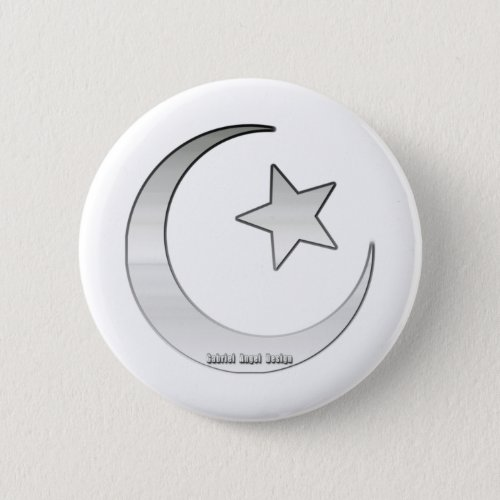 Silver Colored Star and Crescent Symbol Button