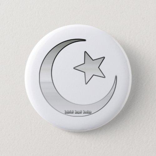 Silver Colored Star and Crescent Symbol Button