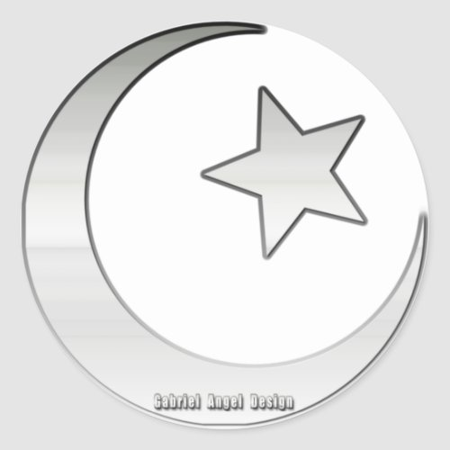 Silver Colored Star and Crescent Symbol Classic Round Sticker