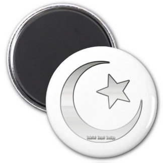 Silver Colored Star and Crescent Symbol Magnet