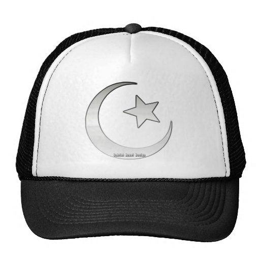 Silver Colored Star and Crescent Symbol Mesh Hat