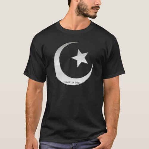 Silver Colored Star and Crescent Symbol T_Shirt