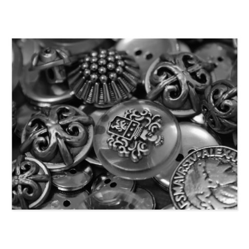 Silver Coloured Assorted Button Shapes Postcard