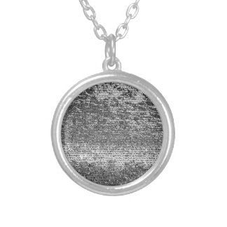 Silver coloured mosaic pattern round pendant necklace