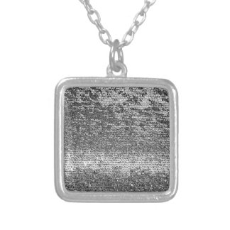 Silver coloured mosaic pattern square pendant necklace