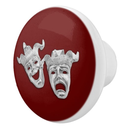 Silver Comedy and Tragedy Masks Theater Ceramic Knob