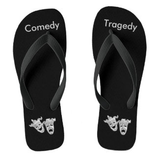 Silver Comedy and Tragedy Masks Theater Flip Flops