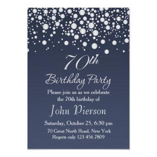 Silver confetti 70th Birthday Party Invitation