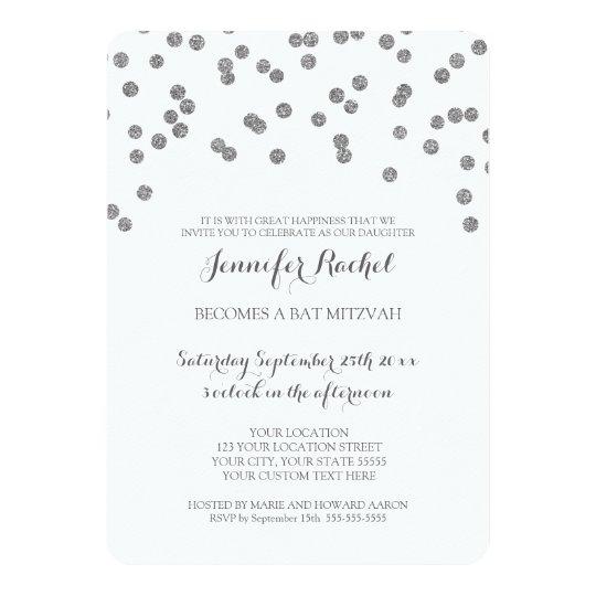 silver confetti bat mitzvah invitations zazzle com