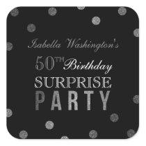 Silver Confetti & Black Surprise Birthday Party Square Sticker