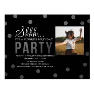 Silver Confetti & Black Surprise Party Postcard