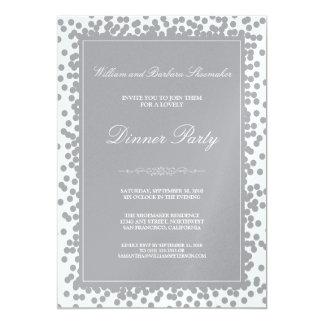 Silver Confetti Dinner Party Invitation