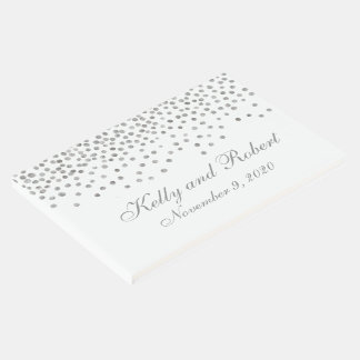 Silver Confetti Dots Custom Wedding Guest Book