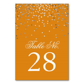 Silver Confetti Dots Orange Wedding Table Number Card