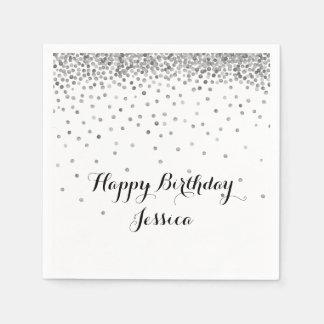 Silver Confetti Dots Paper Napkin