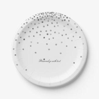 Silver Confetti Dots Paper Plate
