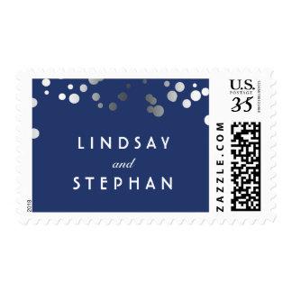 Silver Confetti Elegant Chic Navy Blue Wedding Postage