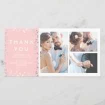 Silver Confetti Elegant Pink Wedding Thank You