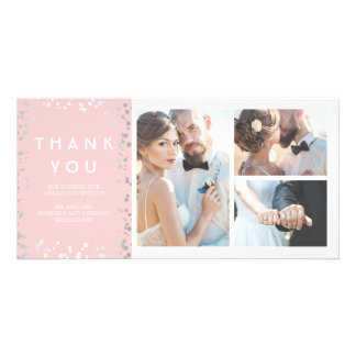 Silver Confetti Elegant Pink Wedding Thank You Card