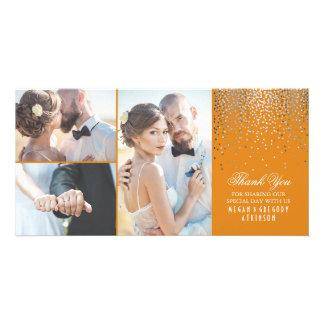 Silver Confetti Glamour Orange Wedding Thank You Card