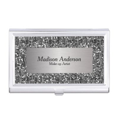 Silver faux glitter professional monogram business card holder silver faux glitter professional monogram business card holder zazzle reheart Image collections