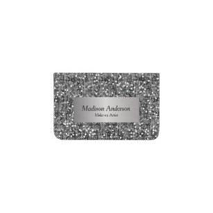 Diy template business card holders cases zazzle silver confetti glitter print diy text business card holder reheart Image collections