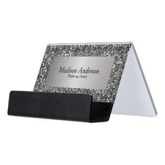 Silver Confetti Glitter Print   DIY Text Desk Business Card Holder